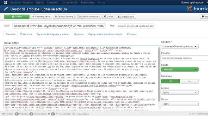 JCE desactivado en artículo de Joomla (toggle editor)