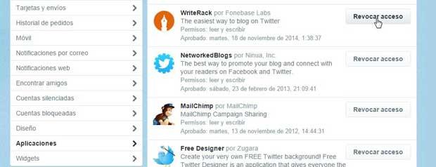 Revocar acceso a aplicaciones de Twitter