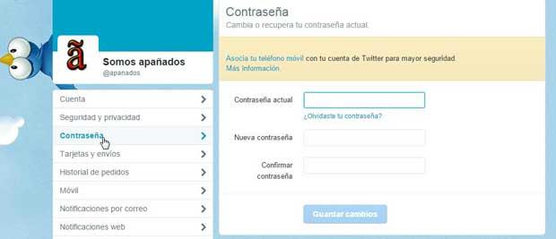 Twitter cambio de contraseña