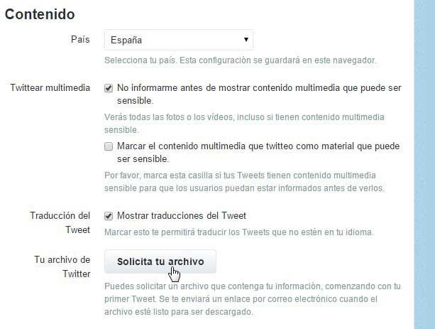 solicitar archivo de Twitter