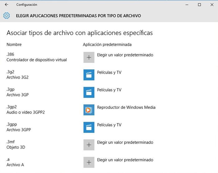 Windows 10 aplicaciones prederminadas por tipo de archivo