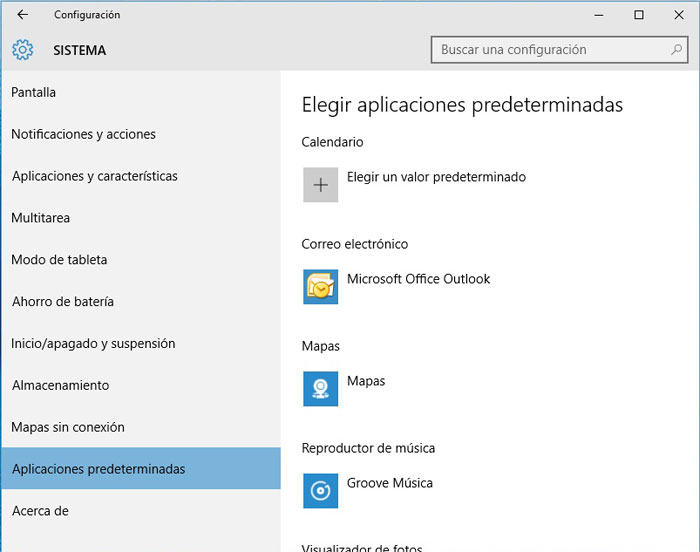 Windows 10, aplicaciones prederminadas