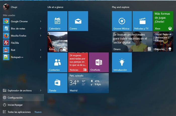 Windows 10 configuración