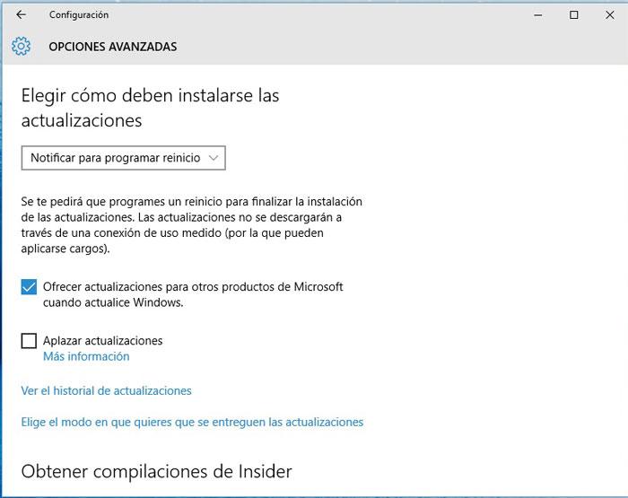 Windows 10 elegir instalación de actualizaciones