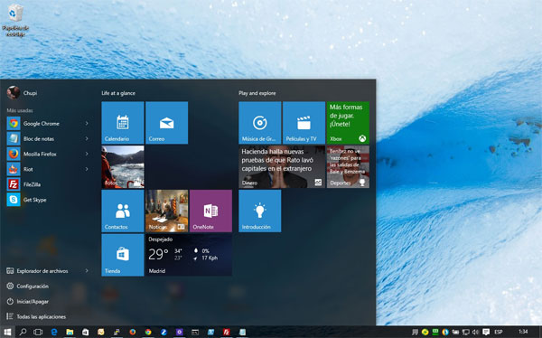 Windows 10, panel de control