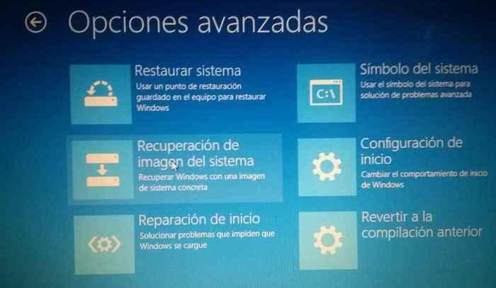 Windows 10, solucionar problemas - opciones avanzadas