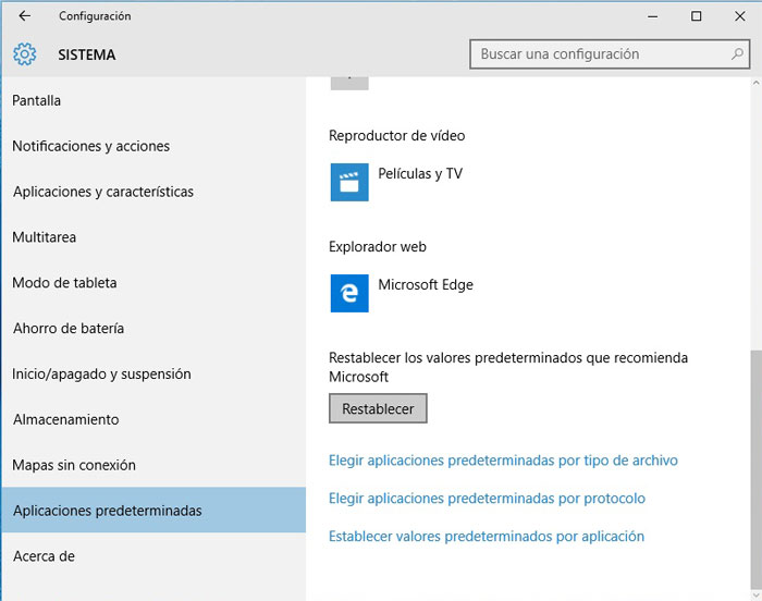 Windows 10 restablecer aplicaciones prederminadas