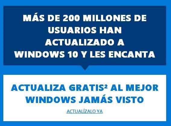 email para actualizar a Windows 10