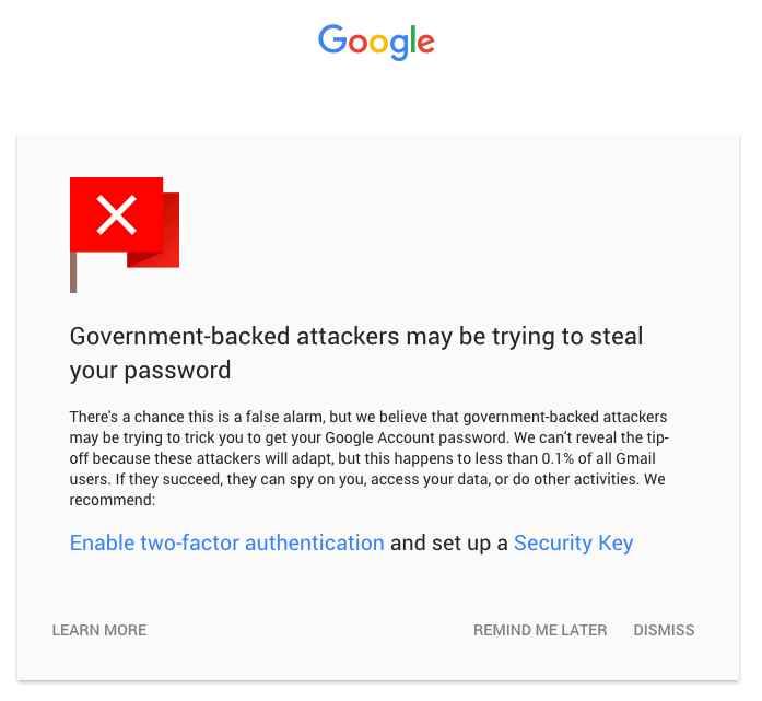 aviso de robo de contraseña de Gmail por el gobierno