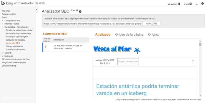 Analizador SEO en Bing Webmaster Tools
