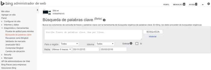 Bing, búsqueda de palabras clave