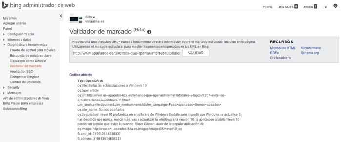 Bing, validador de marcado estructurado