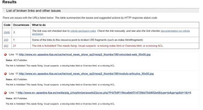 W3C Link Checker, resultados