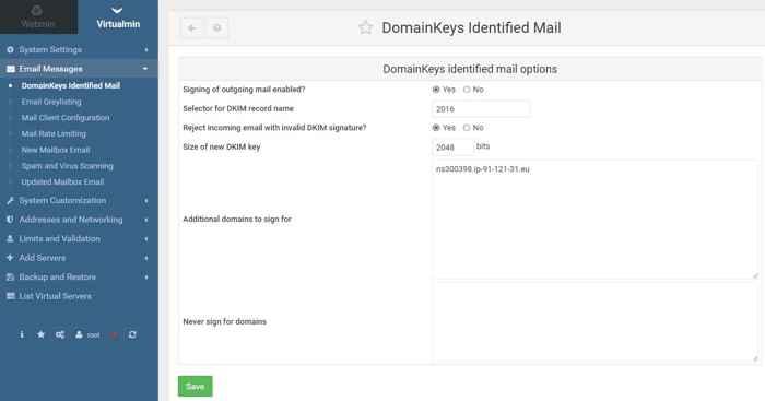 habilitar DKIM en Virtualmin