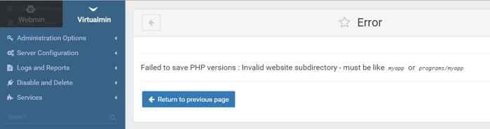 error de directorio en múltiples versiones de PHP