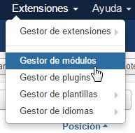 Ir a extensiones - módulos