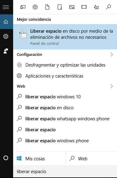 liberar espacio en disco con Windows 10