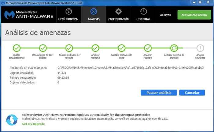 análisis de Malwarebytes