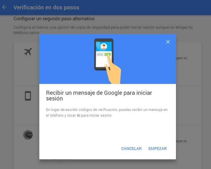 mensaje de Google Empezar