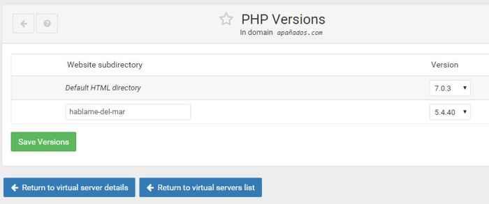 path a un subdirectorio para una versión de PHP