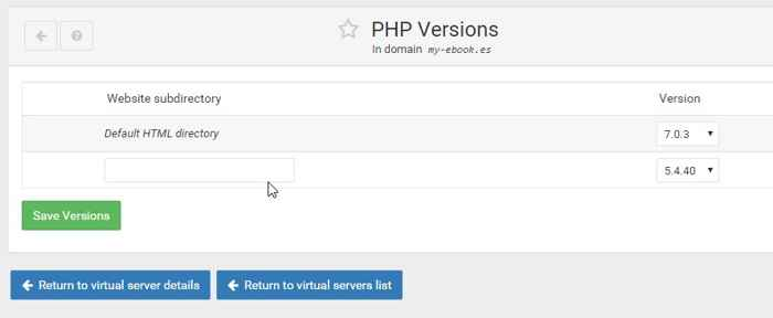 versiones disponibles de PHP