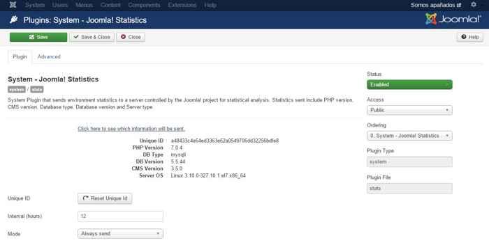 plugin estadísticas Joomla