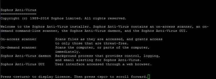 Sophos licencia e inicio de la instalación
