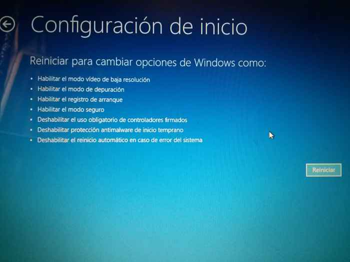 Windows 10 configuración de inicio