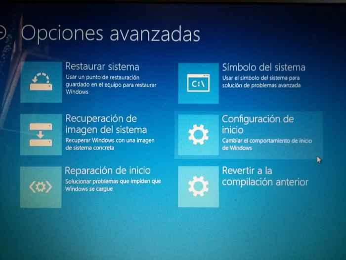 Windows 10 opciones avanzadas