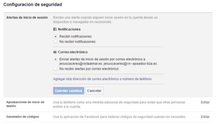 Facebook, Habilitar la entrada de Alertas de inicio de sesión