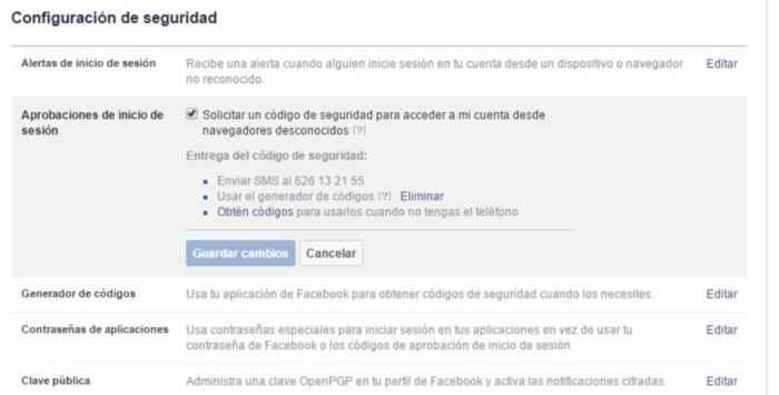 Facebook, Habilitar la Aprobaciones de inicio de sesión