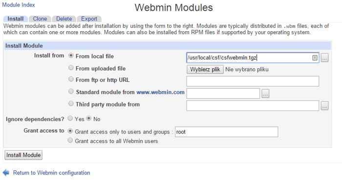 instalar módulo CSF en Webmin