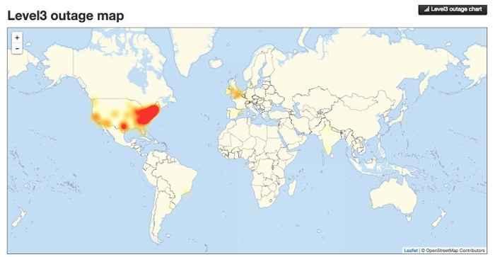 mapa de corte de Internet desde el Nivel 3