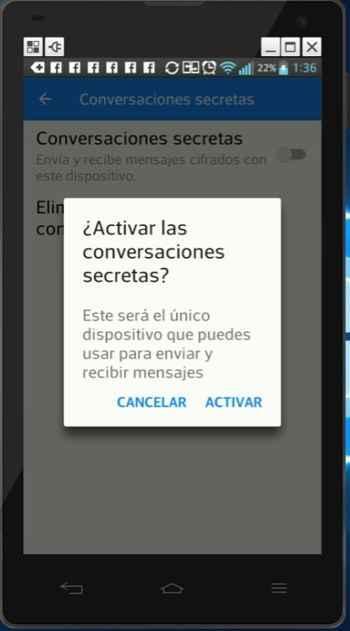 activar Conversaciones secretas en Messenger de Facebook