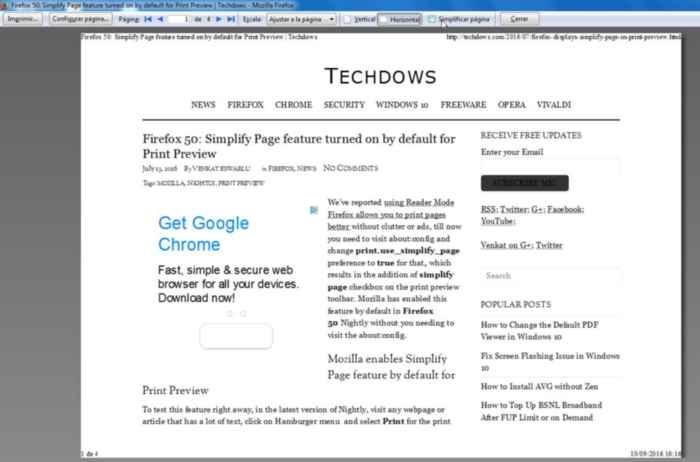 Firefox imprimir con simplificar página bien