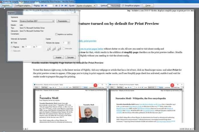 Firefox imprimir cin simplificar página, imprimir
