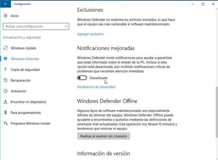 Notificaciones mejoradas en Windows 10