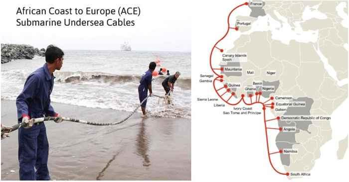 cabe submarino fibra óptica en la costa de África