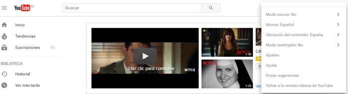 activar modo oscuro en Youtube