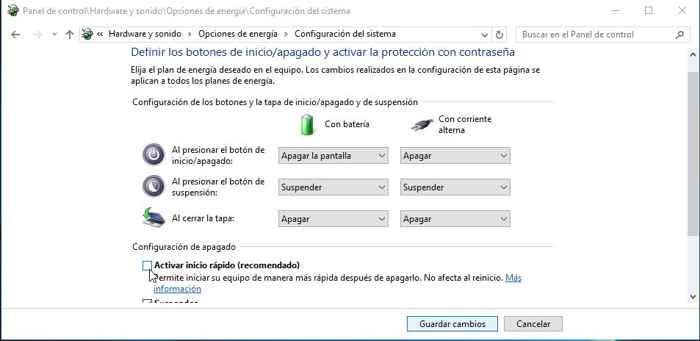 desactivar inicio rápido en Windows 10