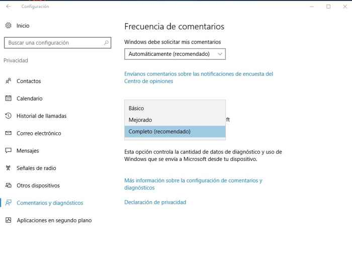 diagnostico de datos en la privacidad de Windows 10