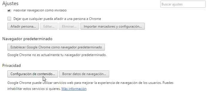 Google Chrome configuración de contenido