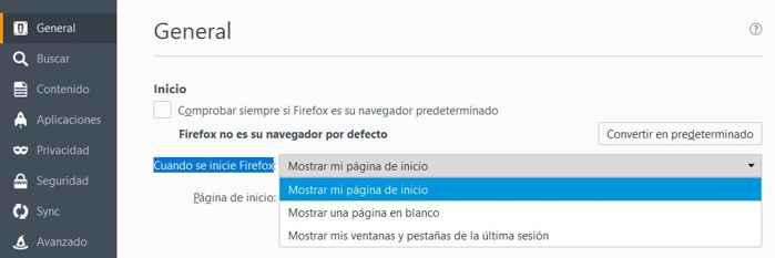 Elegir forma de inicio de Firefox