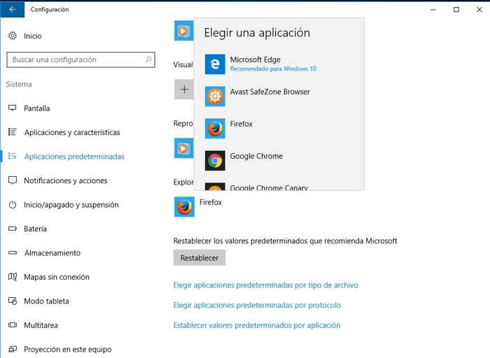 elegir navegador predeterminado en Windows 10