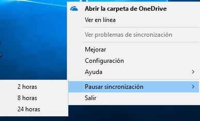 OneDrive, pausar o Salir