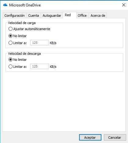 OneDrive, velocidad de red