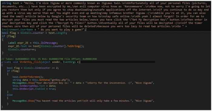 ransomware Koolova, líneas de código
