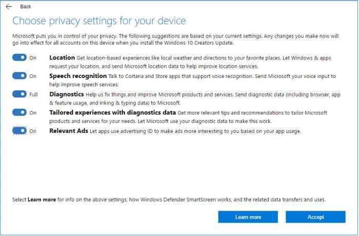 Panel de privacidad de Windows 10, configuración