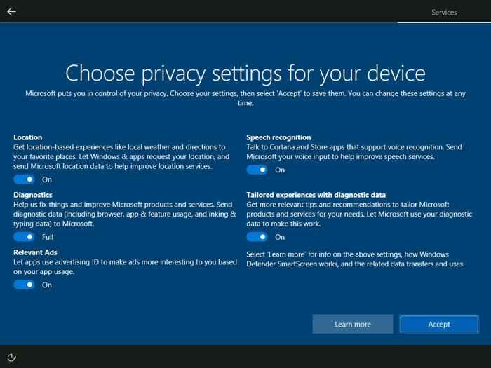 Panel de privacidad de Windows 10