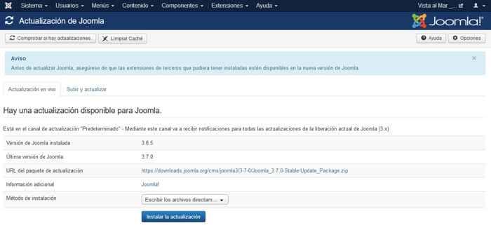 actualización a Joomla 3.7.0